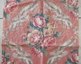 Vintage Barkcloth Fabric Roses Fabric So Shabby
