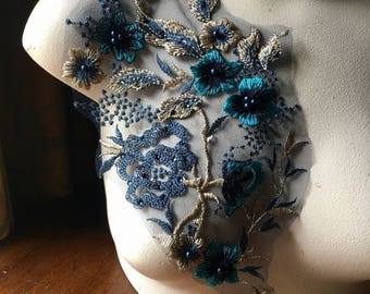 Navy Blue, Gold, & Turquoise 3d Lace Applique #3, Beaded for Couture Gowns, Lyrical or Ballet Costume Design F21-3