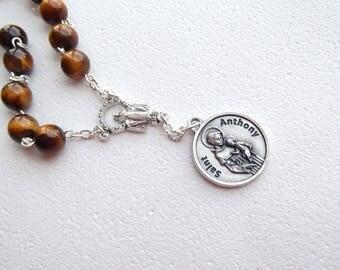 Tigers Eye Handmade Chaplet of Saint Anthony Padua Tiger Eye Rosary