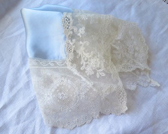 Silk Handkerchief with Antique Laces Something Blue Charmeuse Valencienne and Tambour Lace Trim Wedding/Bridal/Special Occasion Hanky OOAK