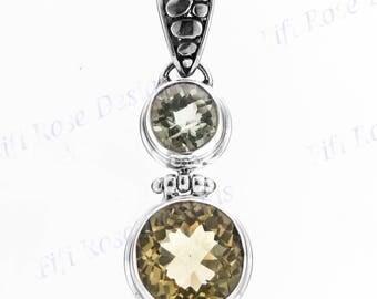 "1 9/16"" Green Amethyst Lemon Quartz 925 Sterling Silver Pendant"