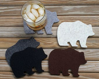 Mama Bear Papa Bear Wool Felt Drink Coasters Man Cave Gift for him for her Rustic Home Lodge Decor Log Cabin Lake House Unique Coaster Set