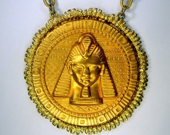 Egyptian Revival Gold PHAROAH  Pendant on Gold Metal Chain, My Recycled Ecochic OOAK Design,Just One in the World
