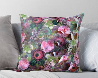 Roses & Butterflies Art on Throw Pillow Cover / Decorative Cushion Cover / Fine Art Home Decor / Available in 2 Sizes / Made to Order
