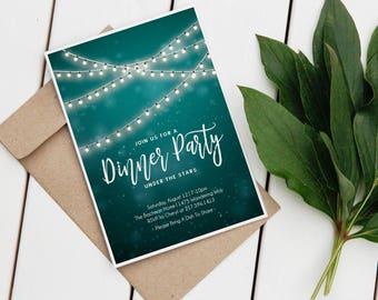 PRINTABLE String of Lights Night Time Summer Dinner Party Wedding Shower Adult Birthday Boho Hipster DIY Invitation