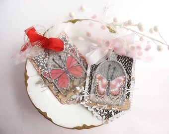 Shabby Chic Cloche Butterfly Gift Tags~set of 2~French inspired~butterfly~cloche cover~pink~black~red~gold~silver