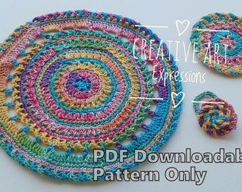 Round Place Mat Set Crochet Pattern, Crocheted Coaster Pattern, Crocheted Rose Napking Ring Crochet Pattern,PDF Downloadable Pattern,Elegant