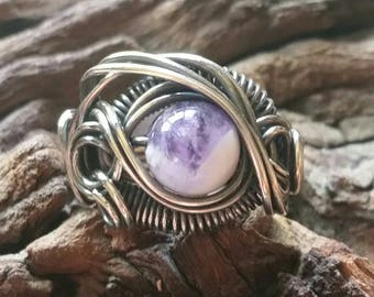 Genuine Chevron Amethyst Dragon's Eye Ring Size 5