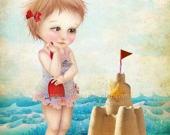 "50% Off SALE Fine Art Print ""Samantha at the Shore"" 8.5x11 or 8x10  - Cute Little Girl at the Beach with Sand Castle Summer Fun Nautical"