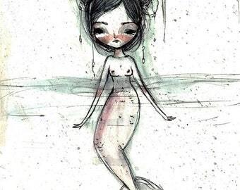"50% Off SALE Fine Art Print - ""Mermaid"" - 8.5x11 or 8x10  Premium Giclee Print of Original Artwork - Jessica von Braun - Pen Ink Painting"