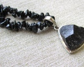 Black Tourmaline Pendant on Black Tourmaline Chip Beads, Tourmaline Necklace-on HOLD for Claire