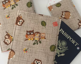 Travel Set with Owls, Passport Holder and Luggage Tag, Owl Lover Travel Set, Gift for Her, Gift under 20