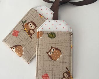Owl Luggage Tag Set, Luggage tags, luggage tag holders, bag tags, Backpack Tag, Stroller Tag, Gift under 10, Gift for Woman, Owl Lover gift