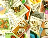 20 x papillon timbres | monde moderne + vintage aléatoire mixé utilisé des timbres | pour l'artisanat, collage, produits issus du recyclage, découpage, collecte