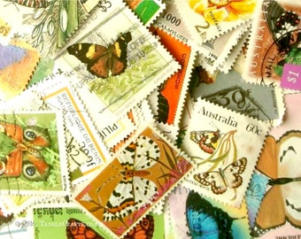 20 x butterfly postage stamps - butterflies world stamp packet