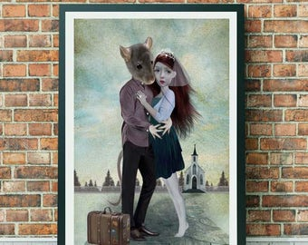 Anthro Art - A3 Art Print - Large Print - Mouse Groom & Bride - Elope