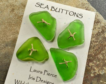 Set of four curvy natural Maine green sea glass buttons / beach glass buttons  eco-friendly vintage statement for knitters and jewelry craft