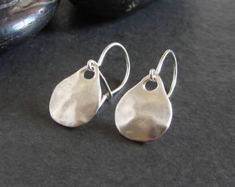 Sterling silver nugget earrings / small earrings / minimalist earrings / simple earrings / drop earrings / artisan jewelry / rustic earrings