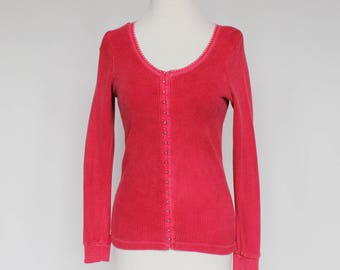 80's Red Waffle Knit Shirt / Corset Style Hook & Eye Front / Moda Int'l / XSmall to Small