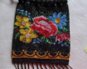 Antique Victorian, Edwardian Ladies Beaded Handbag with Roses