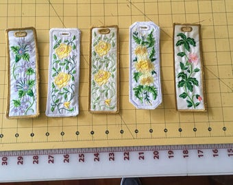 machine embroidery bookmark.