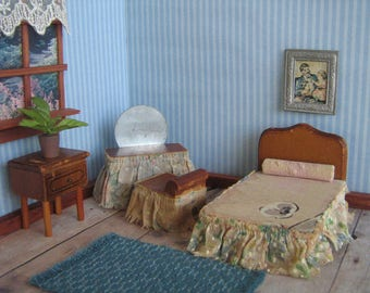 "Vintage KAGE BEDROOM Set- Four Piece Set w/ Original Fabrics-  Dollhouse Furniture in 3/4"" Scale - 1930's-40's  Hard To Find!"