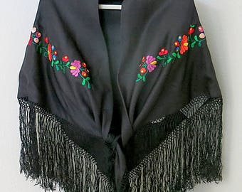 Black Fringed Shawl Hand Embroidered Flowers Lined Vintage 1980s-90s