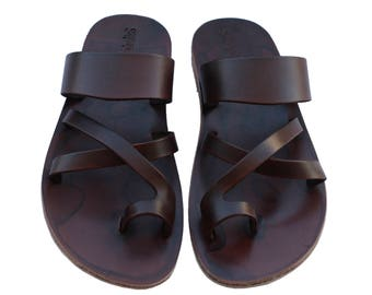 CLEARANCE SALE - Dark Brown Bath Leather Sandals - All Leather Sole  - Euro # 39 - Handmade Unisex Sandals, Genuine Leather, Sale