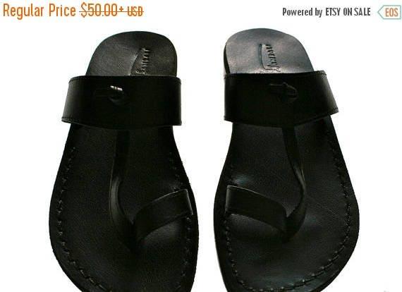 15% OFF Black Twizzle Leather Sandals For Men & Women - Handmade Unisex Sandals, Flip Flop Sandals, Jesus Sandals, Genuine Leather Sandals