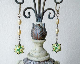 Spike green and white lampwork bead Earrings - Reclaimed rosary chain section - Assemblage recycle jewelry - One of a kind - bycat