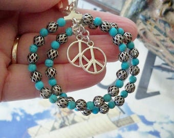 Peace Hoop Earrings - Beaded jewelry - Turquoise and antique silver metal beads - Boho chic - Bohemian earrings - bycat