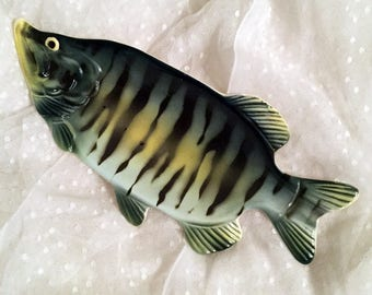 Vintage Fish Plate, Black Green Yellow, Fish Tray, Fish Dish, Ashtray, Man Cave Bar Decor, Trinket Holder, Collectible and Quirky Figurine