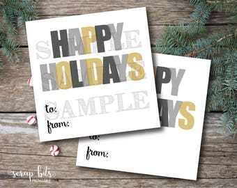Instant Download Happy Holidays Tags, Printable To From Christmas Tags, Printable Holiday Labels