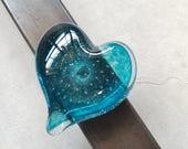 Aqua Blue Glass Heart, So...