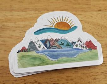 Magic Mountains Weatherproof Sticker -- Vinyl Sticker - Laptop Decal - Outdoor Sticker - Art Decal - Environmental Sticker - Alpine Sticker