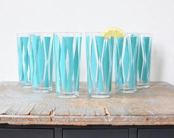 mid century turquoise tumblers, vintage 60s atomic glasses, retro diamond drinking glasses, 1960s barware