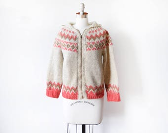 fair isle sweater jacket, vintage 70s nordic sweater, zip up scandinavian hooded wool sweater, pink + brown chunky knit coat, small s