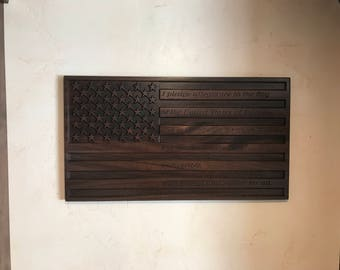 Custom Carved and Lasered American Flag