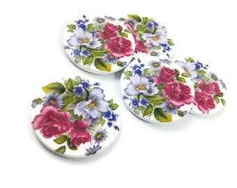 2 inch big buttons - Flower bouquet wooden sewing buttons