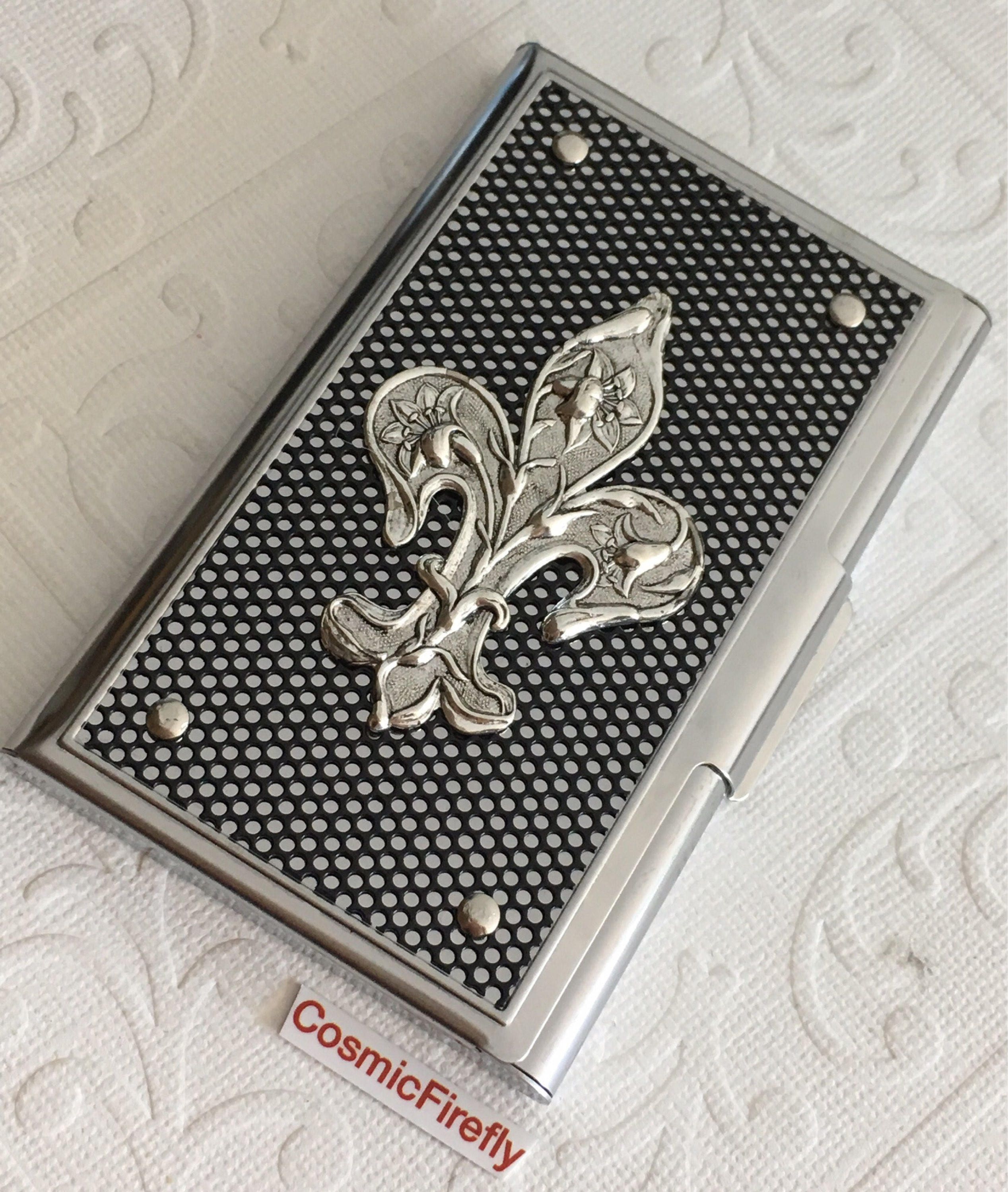 Fleur De Lis Business Card Case Silver & Black Industrial Steampunk ...
