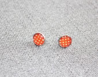 boucles d'oreille sur tige, clou d'oreille, petite boucle d'oreille, acier inoxydable, cabochon, fait au Québec, pois, géométrique, orange