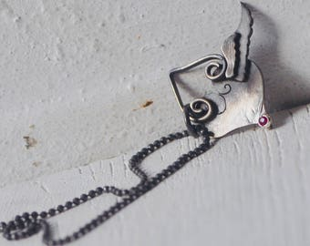 Winged Heart necklace with ruby, flying heart pendant, sterling silver