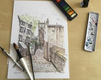 Yorkshire village church and cobbled back street print - Holmfirth Daisy Lane