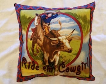 Western Cowgirl Handmade Pillow, Decorative Pillow, Cabin/Lodge Decor