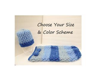 NEW ITEM Sweet Baby Hat & Cocoon Set, Made to Order,  Choose your Colors,  Sweet Rolls