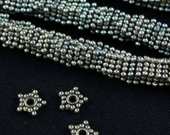 8mm Silver Pewter Star Spacer - 8 Inch Strand Approx. 110 Spacers per Strand