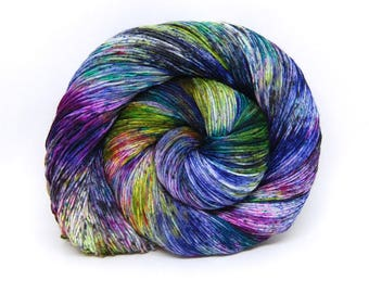 "Acoustic Sock Yarn - ""Acid Rainbow"" - Handpainted Superwash Merino - 400 Yards"