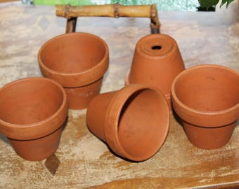 "Lot of 5 Terra Cotta Pots Made in Germany 2 1/2"" in height by 2 3/4"" in rim width"