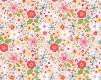 A Garden Girl Pink Floral Fabric by Zoe Pearn for Riley Blake Fabrics sold in 1/2 yard increments
