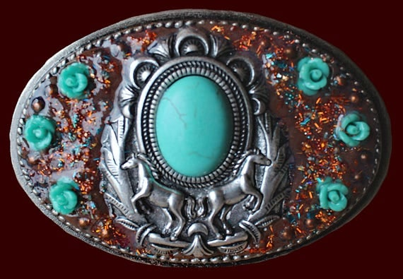 Unique Western Southwestern Horse Belt Buckle with Faux Turquoise and Carved Turquoise Jade Roses